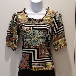 Tops - Celtic-inspired pattern, short sleeve top, size S